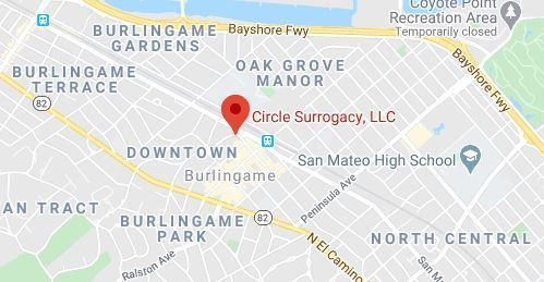 Map of Area Surrounding Circle Surrogacy Burlingame, CA