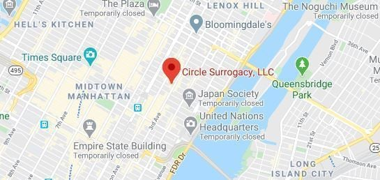 Map of Area Surrounding Circle Surrogacy New York, NY